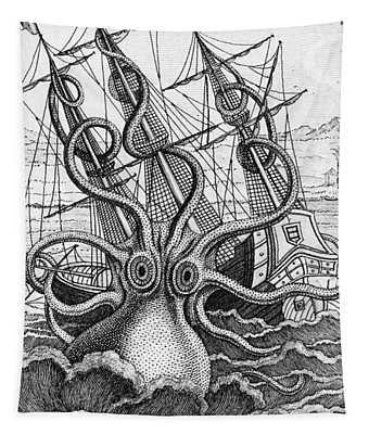 Giant Octopus Illustration From L Histoire Naturelle Generale Et Particuliere Des Mollusques Tapestry