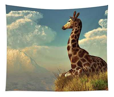 Giraffe And Distant Mountain Tapestry