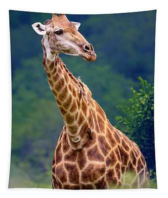 Giraffe Portrait Closeup Tapestry