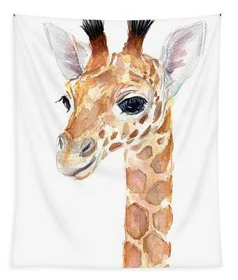 Giraffe Watercolor Tapestry