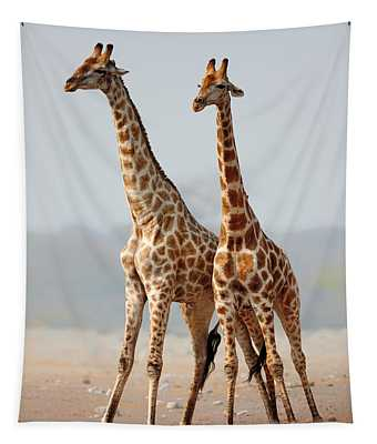 Giraffes Standing Together Tapestry