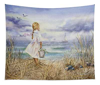 Girl At The Ocean Tapestry