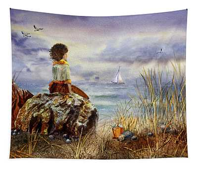 Girl And The Ocean Sitting On The Rock Tapestry