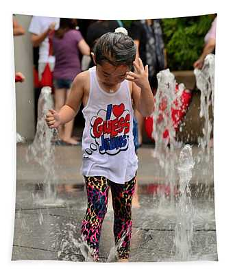 Girl Child Plays With Water At Fountain Singapore Tapestry
