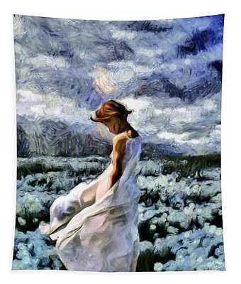 Girl In A Cotton Field Tapestry