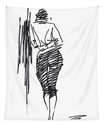 Girl Leaning Against Wall Tapestry