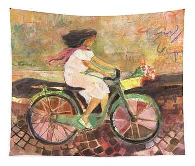 Girl With A Pink Scarf Tapestry
