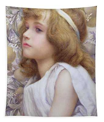 Girl With Apple Blossom Tapestry