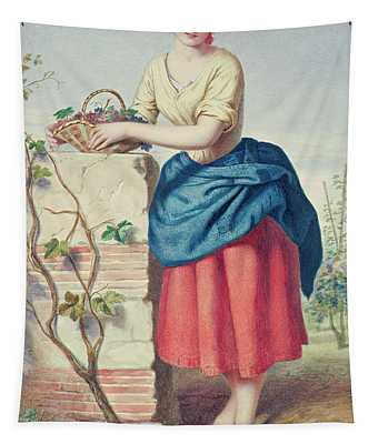 Girl With Basket Of Grapes Tapestry