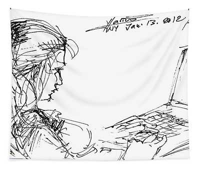 Girl With Laptop  Tapestry