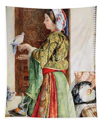 Girl With Two Caged Doves, Cairo, 1864 Tapestry