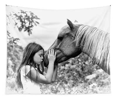 Girls And Their Horses Tapestry