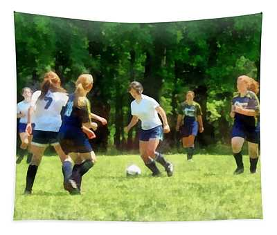 Girls Playing Soccer Tapestry