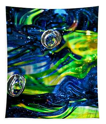 Glass Macro - Seahawks Blue And Green -13e4 Tapestry