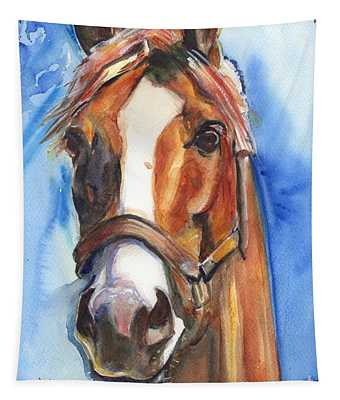 Horse Painting Of California Chrome Go Chrome Tapestry