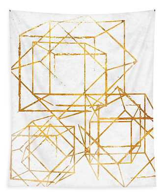 Gold Cubed I Tapestry