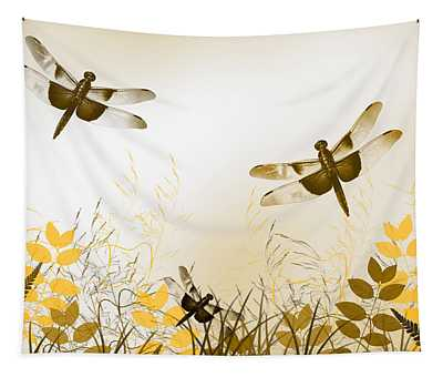 Gold Dragonfly Art Tapestry