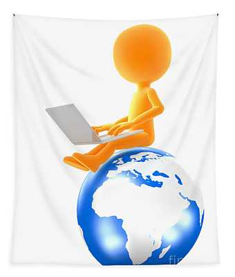 Gold Man Sitting On The Globe With Laptop Tapestry