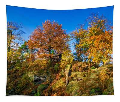 Golden Autumn On Neurathen Castle Tapestry