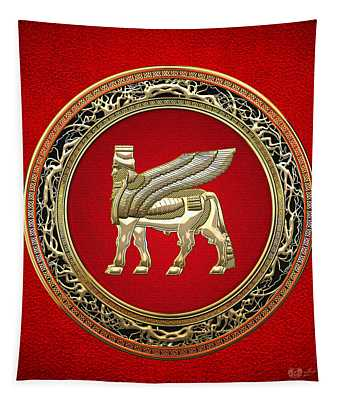 Golden Babylonian Winged Bull  Tapestry