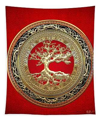 Golden Celtic Tree Of Life  Tapestry