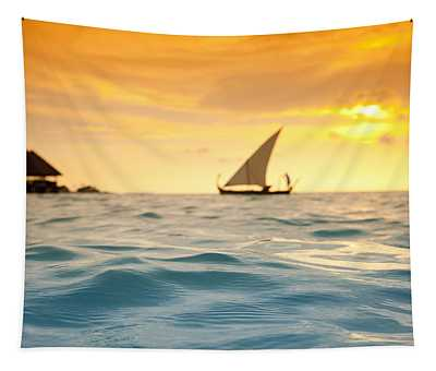 Golden Dhoni Sunset Tapestry