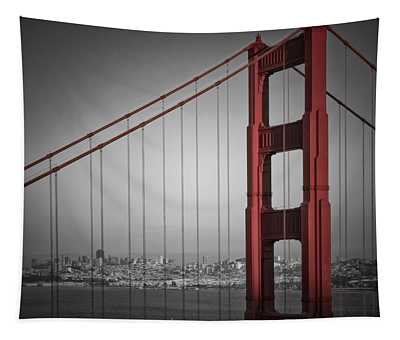 Golden Gate Bridge - Downtown View Tapestry