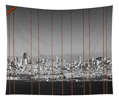 Golden Gate Bridge Panoramic Downtown View Tapestry