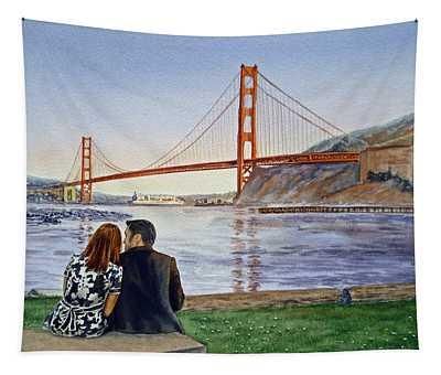 Golden Gate Bridge San Francisco - Two Love Birds Tapestry