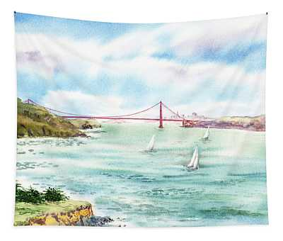 Golden Gate Bridge View From Point Bonita Tapestry