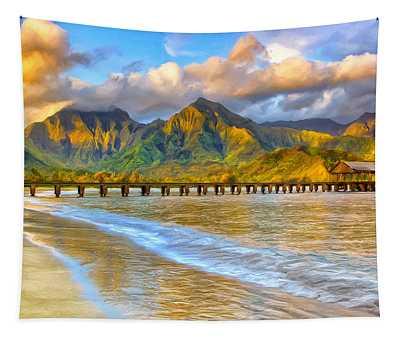 Golden Hanalei Morning Tapestry