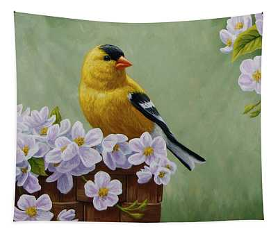 Goldfinch Blossoms Greeting Card 3 Tapestry