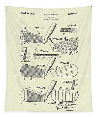 Golf Club 1936 Patent Art Tapestry