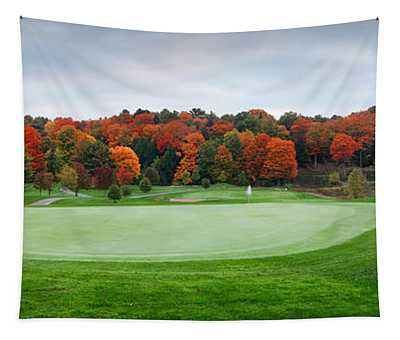 Golf Course Panorama In Fall Tapestry