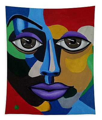 Colorful Illusion Abstract Face Art Painting, Big Brown Eye Art, Optical Artwork Tapestry