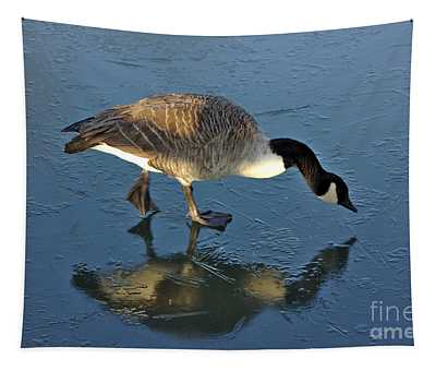 Goose On Ice Tapestry