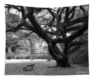 Gothic Surreal Black And White South Carolina Angel Oak Trees Park Landscape Tapestry