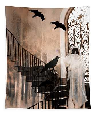 Gothic Grim Reaper With Ravens Crows - Spooky Haunting Surreal Gothic Art Tapestry