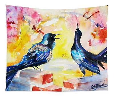 Grackles And Graffiti  Tapestry