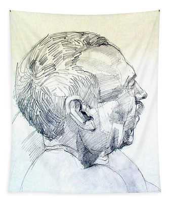 Graphite Portrait Sketch Of A Man In Profile Tapestry