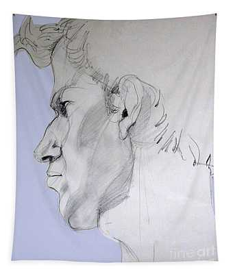 Graphite Portrait Sketch Of A Young Man In Profile Tapestry