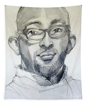 Graphite Portrait Sketch Of A Young Man With Glasses Tapestry