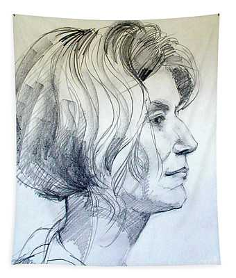 Portrait Drawing Of A Woman In Profile Tapestry