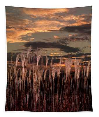 Grassy Sunset Tapestry