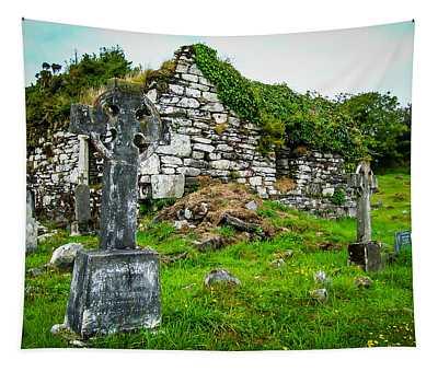 Tapestry featuring the photograph Graveyard And Church Ruins On Ireland's Mizen Peninsula by James Truett