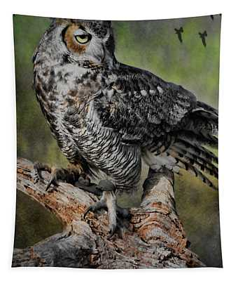 Great Horned Owl On Branch Tapestry