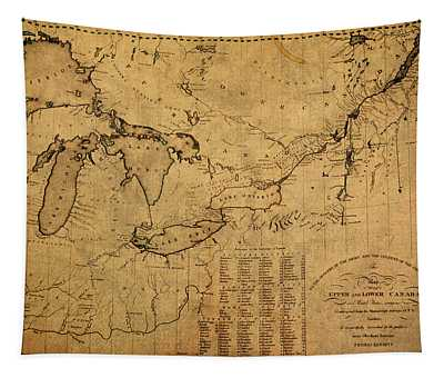 Great Lakes And Canada Vintage Map On Worn Canvas Circa 1812 Tapestry