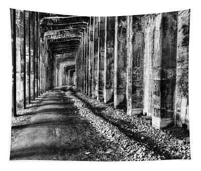 Great Northern Railroad Snow Shed - Black And White Tapestry