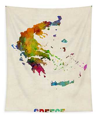 Greece Watercolor Map Tapestry