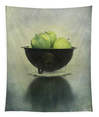 Green Apples In An Old Enamel Colander Tapestry